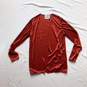 Vintage burnt orange cardigan silky casual S